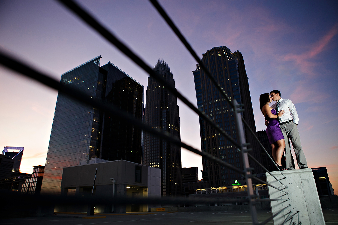 uptown Charlotte engagement photo session shoot